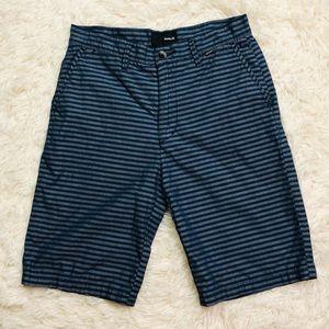Hurley Men's Blue Gray Striped Board Shorts 28